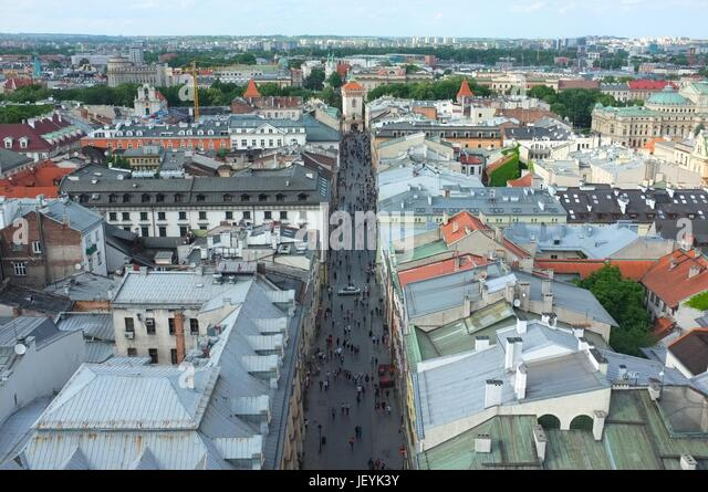 View of Floriańska Street from the top of St Mary's Basilica, Main Square (Rynek Główny), Old Town, Krakow, - Stock Image