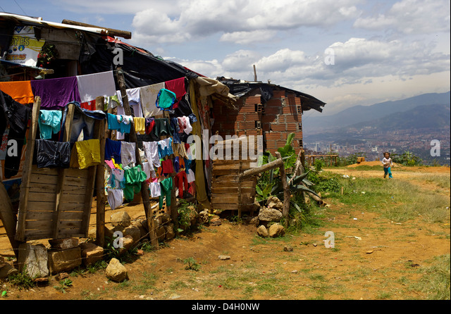 Above Medellin, the Barrios Regalo de Dios, Colombia, South America - Stock Image
