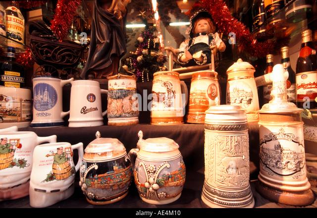 Czech Republic Prague beer jugs souvenir shop - Stock Image