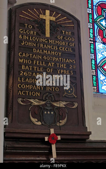 Memorial to John Francis Cecil Dalmahoy,British Army, 40th Pathans, Captain Ypres 26th April 1915, Memorial,St Johns - Stock Image
