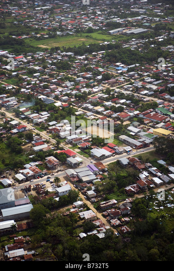 Suriname, Paramaribo, Aerial of residential areas. - Stock Image
