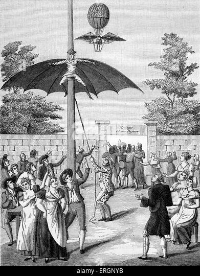 Man flying , park entertainment at the Garden d'Idalie, Calais, France. 19th century . - Stock Image