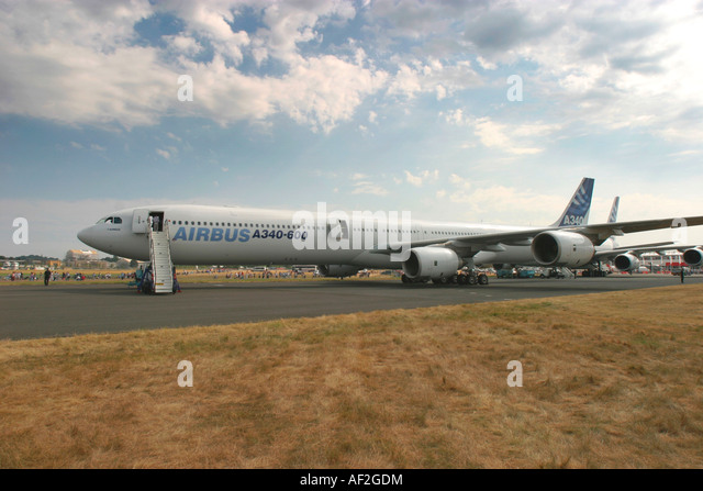 Airbus A340 600 long range four engined commercial passenger airliner. Farnborough, England, UK. - Stock Image