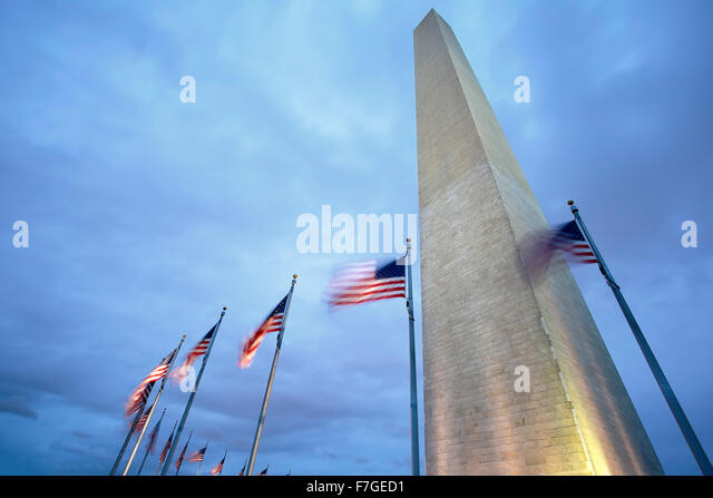 Washington Memorial and American Flags, Washington, District of Columbia USA - Stock Image