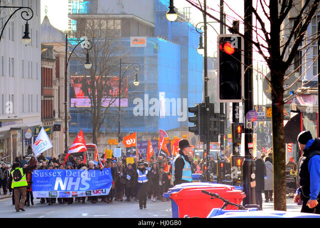 Brighton, Sussex, UK..21 January 2017..Sussex Defend the NHS Rally well attended. Speakers included Labours John - Stock Image