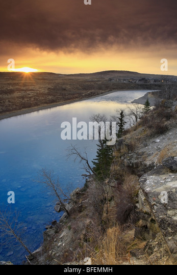 Bow River at sunrise, Cochrane, Alberta, Canada - Stock Image