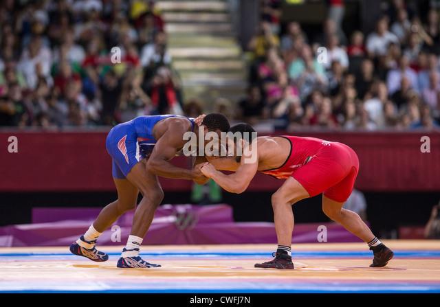 Jordan Ernest Burroughs (USA) -B- vs Sadegh Saeed Goudarzi (IRI) in Men's 74kg Freestyle Wrestling at the Olympic - Stock Image