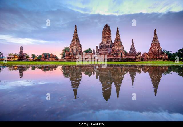 Ayutthaya, Thailand at Wat Chaiwatthanaram. - Stock Image