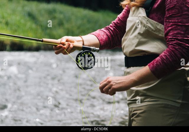 Fly fishing Oregon. - Stock Image