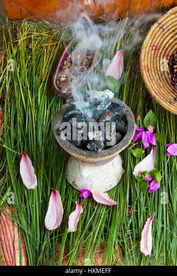 Incense burner, charcoal burning tree syrup, Gondar, Ethiopia - Stock Image