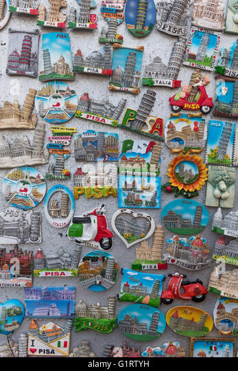 Magnets, keepsake, souvenir with Italian sights, Province of Pisa, Tuscany, Italy - Stock-Bilder