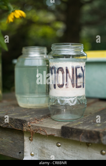 Money jar at pick-your-own farm - Stock Image