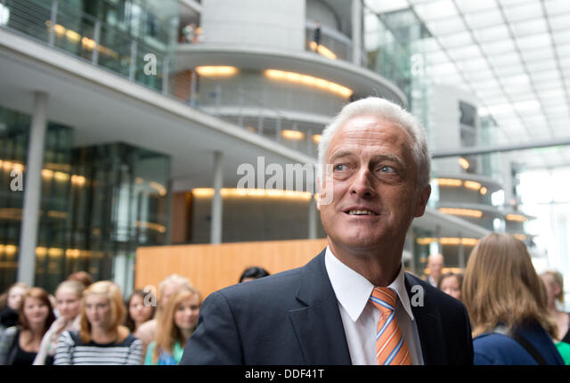 Berlin, Germany. 02nd Sep, 2013. German Transport Minister Peter Ramsauer (CSU) goes to a non-public meeting of - Stock Image