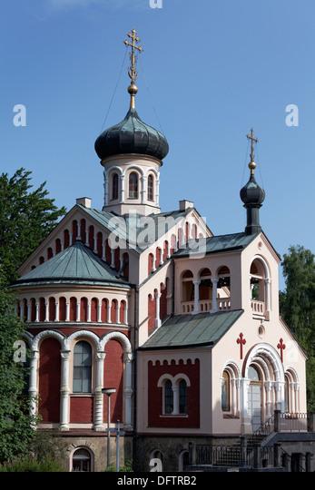 Russian Orthodox Church, Mariánské Lázn?, Karlovy Vary Region, Bohemia, Czech Republic - Stock-Bilder