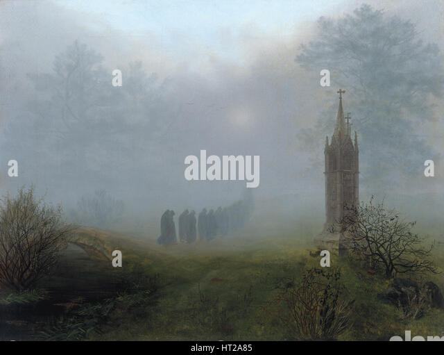 Procession in the Fog, 1828. Artist: Oehme, Ernst Ferdinand (1797-1855) - Stock Image