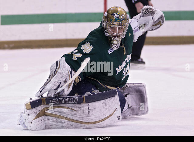 March 2, 2013 - South Bend, Indiana, United States of America - March 02, 2013: Notre Dame goaltender Mike Johnson - Stock Image