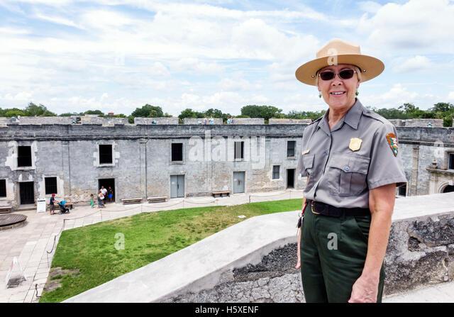 St. Saint Augustine Florida Castillo de San Marcos National Monument park ranger historic fort - Stock Image