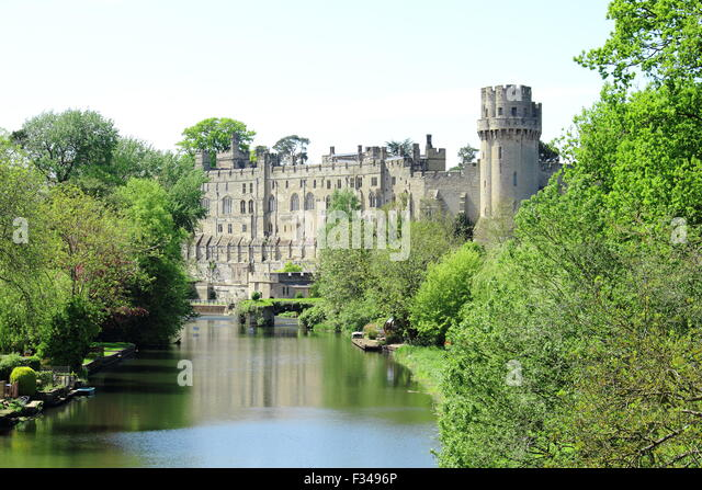 Warwick Castle from Banbury Road Bridge - Stock Image