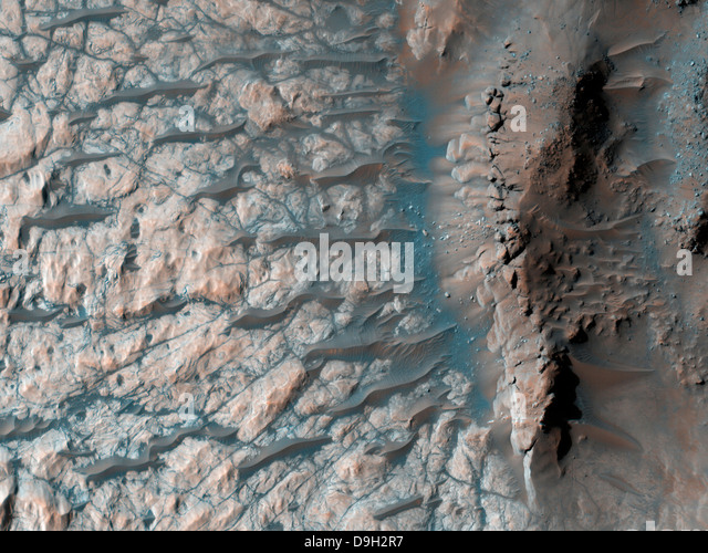 Part of the floor of a large impact crater in the southern highlands on Mars. - Stock Image