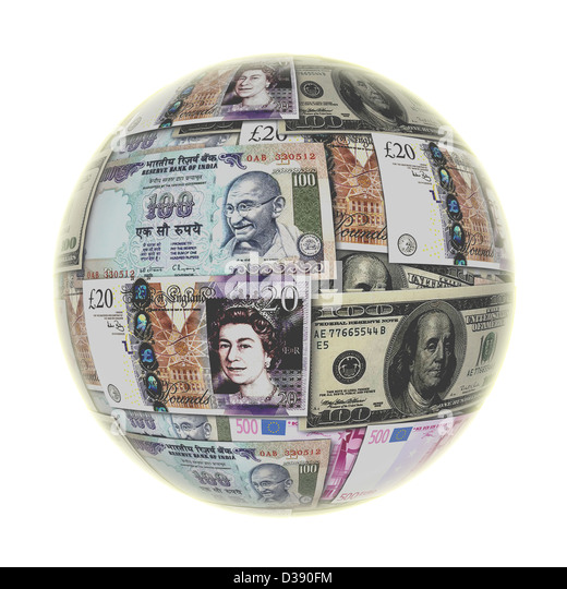 Globe with global currency - Stock-Bilder