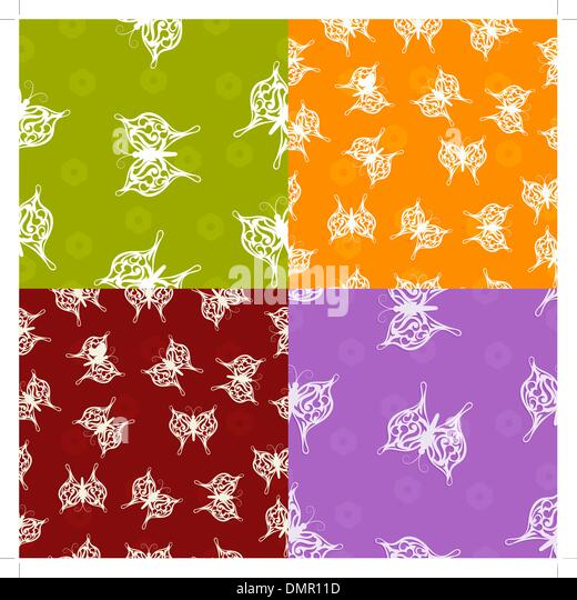 A set of seamless textures with paper butterfly - Stock Image