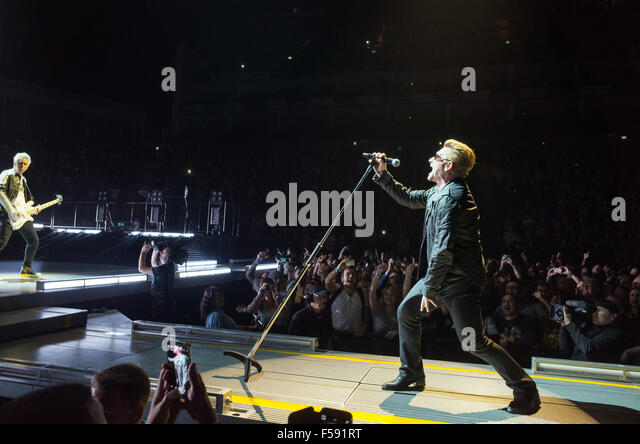 Bono and Adam from U2 at London O2 performing live on the Innocence and Experience tour - Stock Image