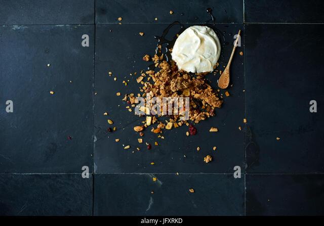 homemade granola with greek yogurt - Stock Image