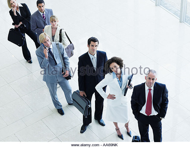 Lineup of aggravated male and female office workers - Stock-Bilder