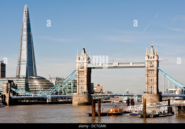 New London skyline with Tower Bridge and the new The Shard skyscraper by Renzo Piano. Shot in 2013 - Stock Image