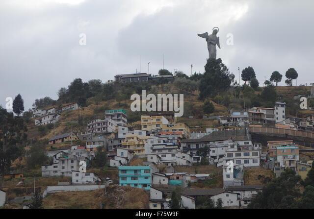 The Panecillo, a 200m hill overlooking the historical centre of Quito, Ecuador - Stock Image