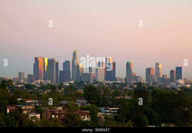 Sunset view of downtown Los Angeles from the West. - Stock-Bilder