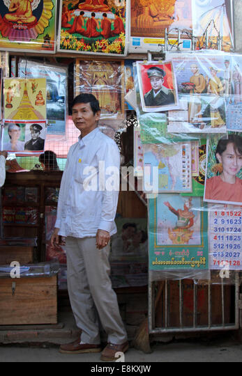 Stall-holder at the market in Kengtung, Burma (Myanmar) on Monday 9 January 2012 - Stock-Bilder