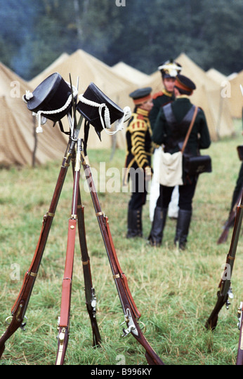 Traditional festival in the military historical museum preserve dedicated to the battle of Borodino in 1812 - Stock Image