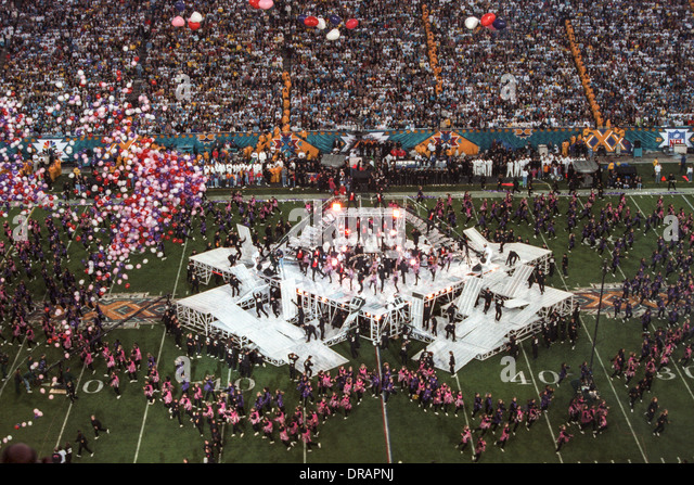 Half time at the1996 Super Bowl XXX, Dallas Cowboys vs.Pittsburgh Steelers - Stock Image