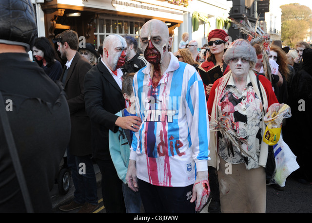 The Beach of the Dead Zombie Walk which took place in Brighton city centre UK October 2011 - Stock Image