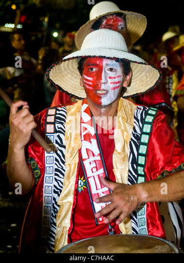 Candombe drummer in the Montevideo annual Carnaval , - Stock Image