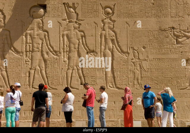 Carvings on the outside wall of the Temple of Hathor, Dendera necropolis, Qena, Nile Valley, Egypt, North Africa, - Stock Image