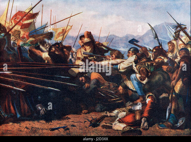 The Battle of Sempach, 9 July 1386, fought between Leopold III, Duke of Austria and the Old Swiss Confederacy.  - Stock Image
