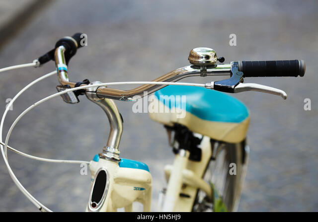 Bicycle is standing on the street of old European city - Stock-Bilder