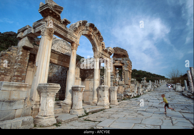 Turkey Pamucak Beach Curetes Street ruins of Greco Roman city BC320 Temple of Hadrian - Stock Image