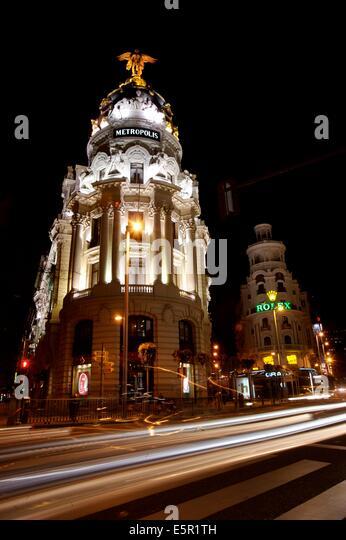 Metropolis building, Gran Via, Madrid, Spain. - Stock Image