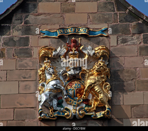 Canongate Kirk Church Edinburgh Royal Mile, Scotland, UK Crest IN DEFENCE - Stock Image