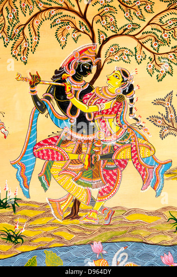 Rasa lila or Rasa dance painting,  lord Krishna dances with Radha and her sakhis. - Stock Image
