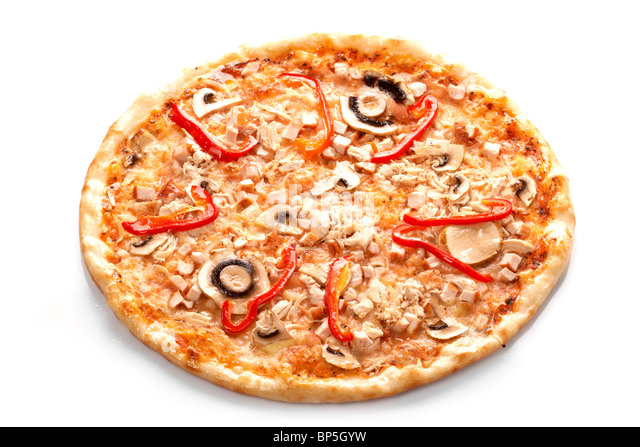 Pizza with champignons - Stock Image