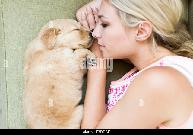 Portrait of puppy with owner lying down on sofa - Stock-Bilder
