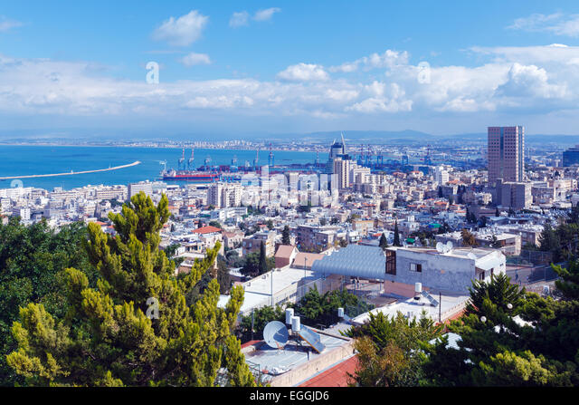 Panoramic Aerial View of Haifa, Israel - Stock Image