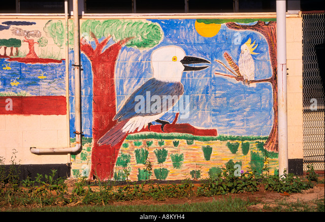 Australian aboriginal art wall mural stock photos for Australian mural