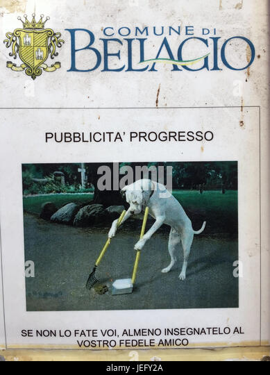 BELLAGIO, Lake Como, Italy. Poster advising dog owners to keep the streets clean. Photo: Tony Gale - Stock-Bilder