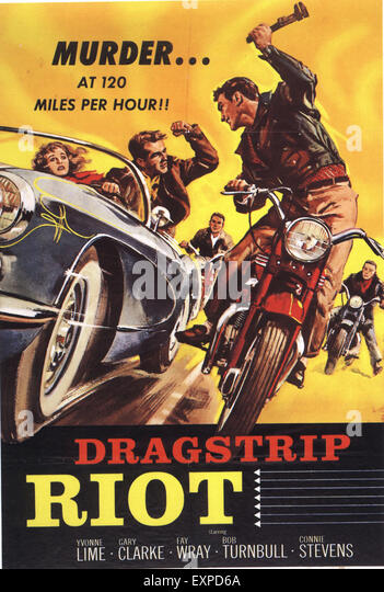 1950s USA Dragstrip Riots Film Poster - Stock Image