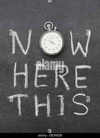 now here this concept handwritten on chalkboard with vintage precise stopwatch used instead of O - Stock-Bilder